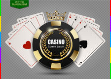 VIP poker luxury black and golden chip in golden crown, card vector casino logo concept. Transparency in additional format only. Royal poker club emblem with stock illustration