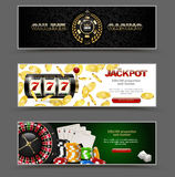 VIP poker luxury horizontal web banner set. Chip stack vector online casino text club golden logo concept Stock Photography