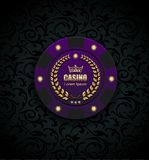 VIP poker luxury purple chip vector casino logo concept. Royal poker club emblem with golden crown, laurel wreath and spade vector illustration