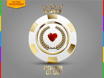 VIP poker luxury white and golden chip vector transparency in additional format only. VIP poker luxury white and golden chip vector. Royal poker club casino vector illustration