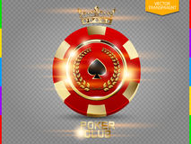 VIP poker red and golden chip with light effect vector transparency in additional format only. Royal poker club casino emblem with crown, laurel wreath and vector illustration