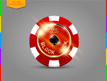 VIP poker red and white chip with light effect vector Stock Image