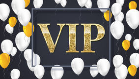 VIP poster with shiny colored balloons on dark Background with lettering. Vector illustration. Stock Photos