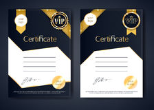 VIP premium certificates templates set. Black and golden design. Golden ribbons with round stamp label decorative vector background Royalty Free Stock Photo