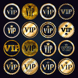 VIP premium golden badges set. Black and golden design template. Quilted pattern decorative background with gold ribbon, crown and diamonds Royalty Free Stock Photos