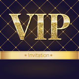 VIP premium invitation card, poster or flyer for party. Golden design template with glittering shine text. stock illustration