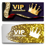 VIP premium invitation cards posters flyers. Black and golden design template set. Vector illustration Royalty Free Stock Images