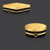 VIP pudełko z złocistym dekla i rocznika tłem, dwa round i na szarym tle royalty ilustracja