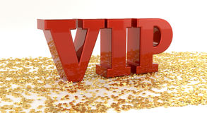 VIP - Red text on gold stars - High quality 3D Render Stock Images