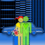 VIP Romance. Romantic couple of respectable rich man and woman with flowers at the first date near expensive car in the night modern city Stock Photos