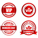 VIP rubber stamp. VIP membership red shiny rubber stamp / seal collection with text isolated on white background Stock Image