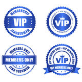 VIP rubber stamp. VIP membership shiny blue stamp / seal collection with text isolated on white background Royalty Free Stock Photo