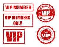 VIP seal. VIP membership grunge stamp / seal collection in red isolated on white background Stock Image