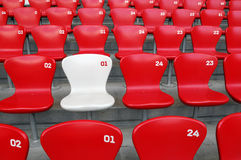 VIP Seat. One white chair around by red chairs Stock Image