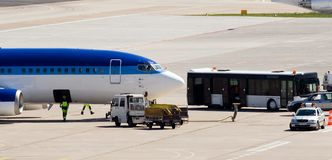 VIP shuttle service, Airport Tegel. Arrival and dispatching VIP airplane of the estonia airline Estonian stock photo
