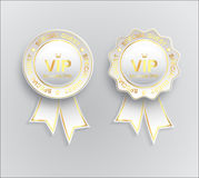 Vip sign white gold with ribbon Royalty Free Stock Photography