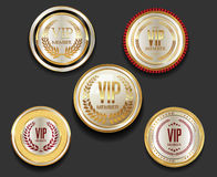 VIP silver and gold label collection. VIP silver and gold label set Royalty Free Stock Photos