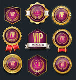 VIP silver and gold label collection. VIP silver and gold label set Stock Photo