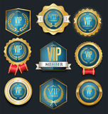 VIP silver and gold label collection. VIP silver and gold label set Stock Photos