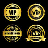 VIP stamp collection. VIP membership gold stamp / seal collection with text isolated on black  background Stock Images