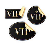 VIP stickers set. Black color. Stock Photo