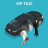 VIP taxi concept. A pretty business woman getting into a taxi cab. Royalty Free Stock Photos