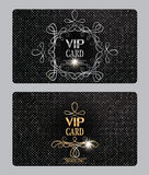 VIP textured cards with floral design elements. VIP textured gold and silver cards with floral design elements Royalty Free Stock Image