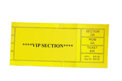 VIP ticket. Yellow Special Event ticket stub isolated on white background Royalty Free Stock Image