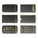Vip Ticket Template Vector. Empty Black Tickets And Coupons Blank. Theater, Cinema Tickets Coupons. Isolated Royalty Free Stock Photos