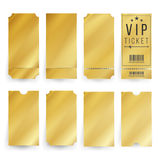 Vip Ticket Template Vector. Empty Golden Tickets And Coupons Blank. Isolated Illustration. Ticket Template Set Vector. Blank Theater, Cinema, Train, Football royalty free illustration