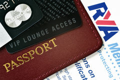 VIP travel concept. RUSSIA, MOSCOW - FEB 22, 2015: Premium credit card MasterСard Black Edition, Priority Pass card (card for VIP lounge access) and stock images
