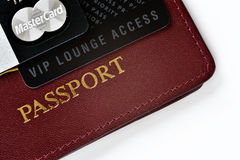 VIP travel concept. RUSSIA, MOSCOW - FEB 22, 2015: Premium credit card MasterCard Black Edition, Priority Pass card (card for VIP lounge access) and stock photos