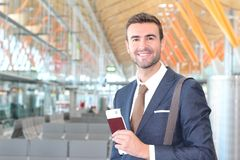 VIP traveler satisfied with his trip stock photo