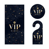 VIP uitnodigingskaart, waarschuwend hanger en kenteken Stock Foto's