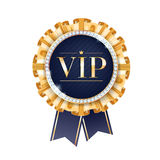 VIP vector badge with golden ribbons. Stock Image