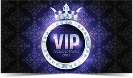 VIP card. Silver background. Premium quality. Crown vector illustration