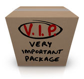 VIP Very Important Package Cardboard Box Shipment Stock Photo