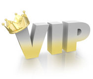 VIP Very Important Person Gold Crown Official King Executive. The words or acronym VIP with a gold crown on the letter V to illustrate a Very Important Person Stock Photography