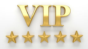 VIP - Very important person - gold 3D render on the wall backgro Stock Photos