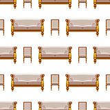 VIP vintage interior furniture rich wealthy house chair room with sofa couch seat seamless pattern background vector Royalty Free Stock Photography