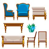 VIP vintage interior furniture rich wealthy house chair room with sofa couch seat set vector illustration. Stock Photo