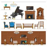 VIP vintage interior furniture rich wealthy house room with sofa set brick wall background vector illustration. Royalty Free Stock Images