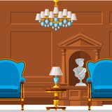VIP vintage interior furniture rich wealthy house room with sofa set brick wall background vector illustration. stock illustration