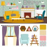 VIP vintage interior furniture rich wealthy house room with sofa set brick wall background vector illustration. Classic retro antique luxury apartment indoor Royalty Free Stock Photography