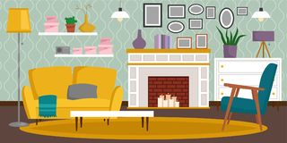 VIP vintage interior furniture rich wealthy house room with sofa set brick wall background vector illustration. Classic retro antique luxury apartment indoor Stock Photos