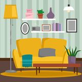 VIP vintage interior furniture rich wealthy house room with sofa set brick wall background vector illustration. Stock Photography