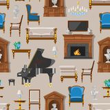 VIP vintage interior furniture rich wealthy house room with sofa set brick wall background vector seamless pattern. VIP vintage interior furniture rich wealthy Royalty Free Stock Photography