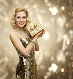 Vip Woman Present Gift Box, Retro Lady Sparkling Gold Dress Royalty Free Stock Images
