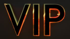 VIP written in black and gold 3D font. Stock Photos
