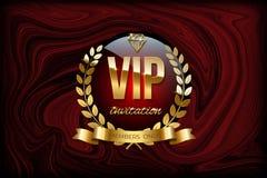 VIP zaproszenia projekta szablon Wektorowy złoty faborek, laurowy wianek i VIP zaproszenie tekst na, ilustracja wektor